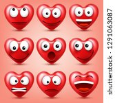 heart smiley emoji vector set... | Shutterstock .eps vector #1291063087