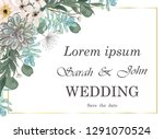 wedding invitation with flowers ... | Shutterstock .eps vector #1291070524