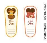 valentine's day animal sticker... | Shutterstock .eps vector #1291074361