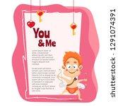 hand drawn valentine's day... | Shutterstock .eps vector #1291074391