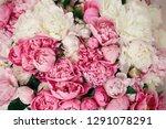 peonies wallpaper pattern. big... | Shutterstock . vector #1291078291