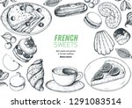 a set of  french desserts with... | Shutterstock .eps vector #1291083514