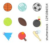 sports ball set in flat style... | Shutterstock .eps vector #1291086514