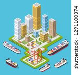 isometric city boulevard with... | Shutterstock .eps vector #1291100374