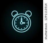 alarm clock icon in neon style. ...