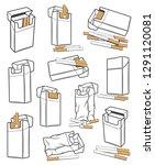 cigarette packs icons crumpled... | Shutterstock .eps vector #1291120081