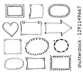 hand drawn set of simple frame... | Shutterstock .eps vector #1291149667
