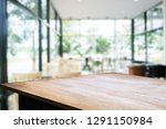 wooden table with blurred... | Shutterstock . vector #1291150984