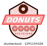 delicious donuts label   Shutterstock .eps vector #1291154104