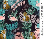 zoo animals pattern  pink... | Shutterstock .eps vector #1291154887