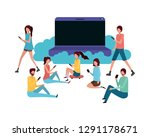 screen with people around... | Shutterstock .eps vector #1291178671
