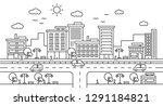 city street landscape view with ... | Shutterstock .eps vector #1291184821