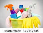 full box of cleaning supplies... | Shutterstock . vector #129119435