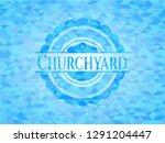 churchyard sky blue emblem with ... | Shutterstock .eps vector #1291204447