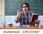 young funny math teacher in... | Shutterstock . vector #1291215367