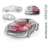 sketch drawing of a sports car. ... | Shutterstock . vector #129121721