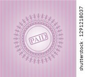 paid icon inside retro pink... | Shutterstock .eps vector #1291218037