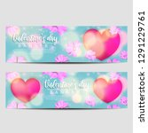 valentines day banner with icon ... | Shutterstock .eps vector #1291229761