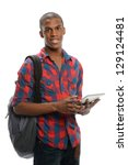 young black student holding an... | Shutterstock . vector #129124481