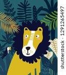 lion in jungle. vector... | Shutterstock .eps vector #1291265497