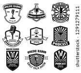 set of vintage podcast  radio... | Shutterstock .eps vector #1291279111