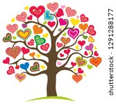 love tree. heart tree with... | Shutterstock .eps vector #1291288177