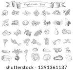healthy organic vegetarian food.... | Shutterstock . vector #1291361137