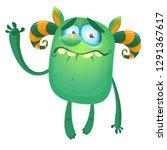 cute cartoon monster with sad... | Shutterstock .eps vector #1291367617