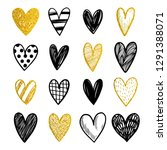 set of hand drawn vector hearts ... | Shutterstock .eps vector #1291388071