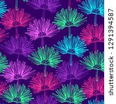 pattern with abstract flowers.... | Shutterstock .eps vector #1291394587