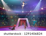 big top circus show  performers ... | Shutterstock .eps vector #1291406824