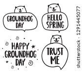 set for groundhog day. hand... | Shutterstock .eps vector #1291445077