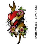 heart and flowers tattoo design | Shutterstock .eps vector #12914533