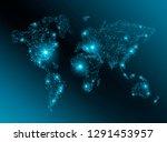 world map on a technological... | Shutterstock . vector #1291453957