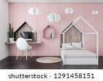 interior of kids bedroom with... | Shutterstock . vector #1291458151