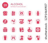 alcohol icon set. collection of ... | Shutterstock .eps vector #1291464907