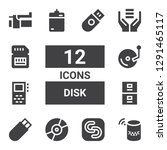 disk icon set. collection of 12 ... | Shutterstock .eps vector #1291465117