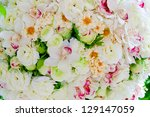 Silk flowers background - stock photo