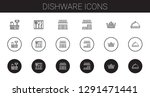 dishware icons set. collection... | Shutterstock .eps vector #1291471441