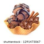 chocolate ice cream with... | Shutterstock . vector #1291473067