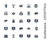 broadcasting icon set.... | Shutterstock .eps vector #1291477411