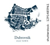 vector map of dubrovnik  old... | Shutterstock .eps vector #1291485961