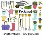 gardening tools set. vector... | Shutterstock .eps vector #1291509301