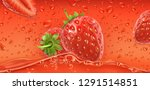 red drops. strawberry. 3d... | Shutterstock .eps vector #1291514851