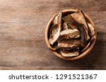 Bowl Of Dried Mushrooms On...