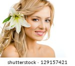 beautiful smiling woman with a...   Shutterstock . vector #129157421