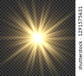 realistic sun rays. yellow sun... | Shutterstock .eps vector #1291575631