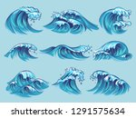 hand drawn ocean waves. sketch... | Shutterstock .eps vector #1291575634