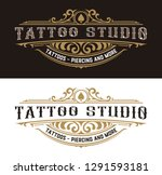 tattoo logo template with... | Shutterstock .eps vector #1291593181
