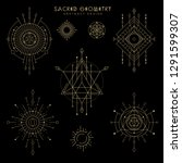 vector sacred geometry... | Shutterstock .eps vector #1291599307